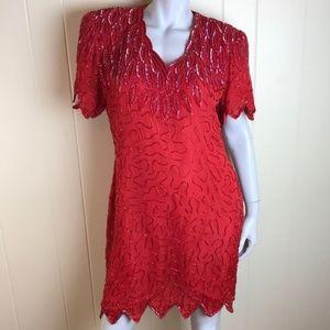 Vtg 80s Silk Beaded Formal Cocktail Party Dress